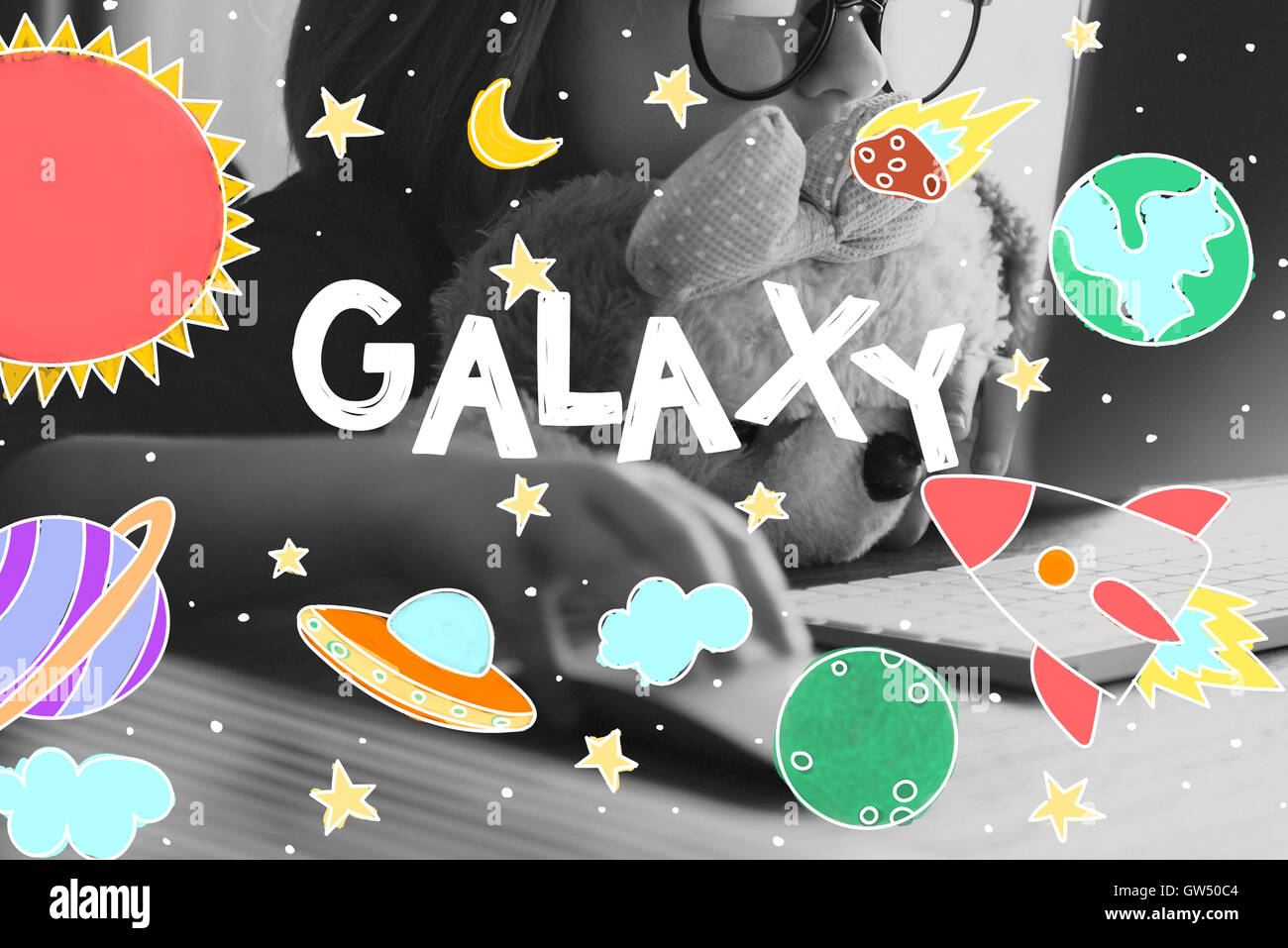 Outer Space Icons Drawing Graphics Concept - Stock Image