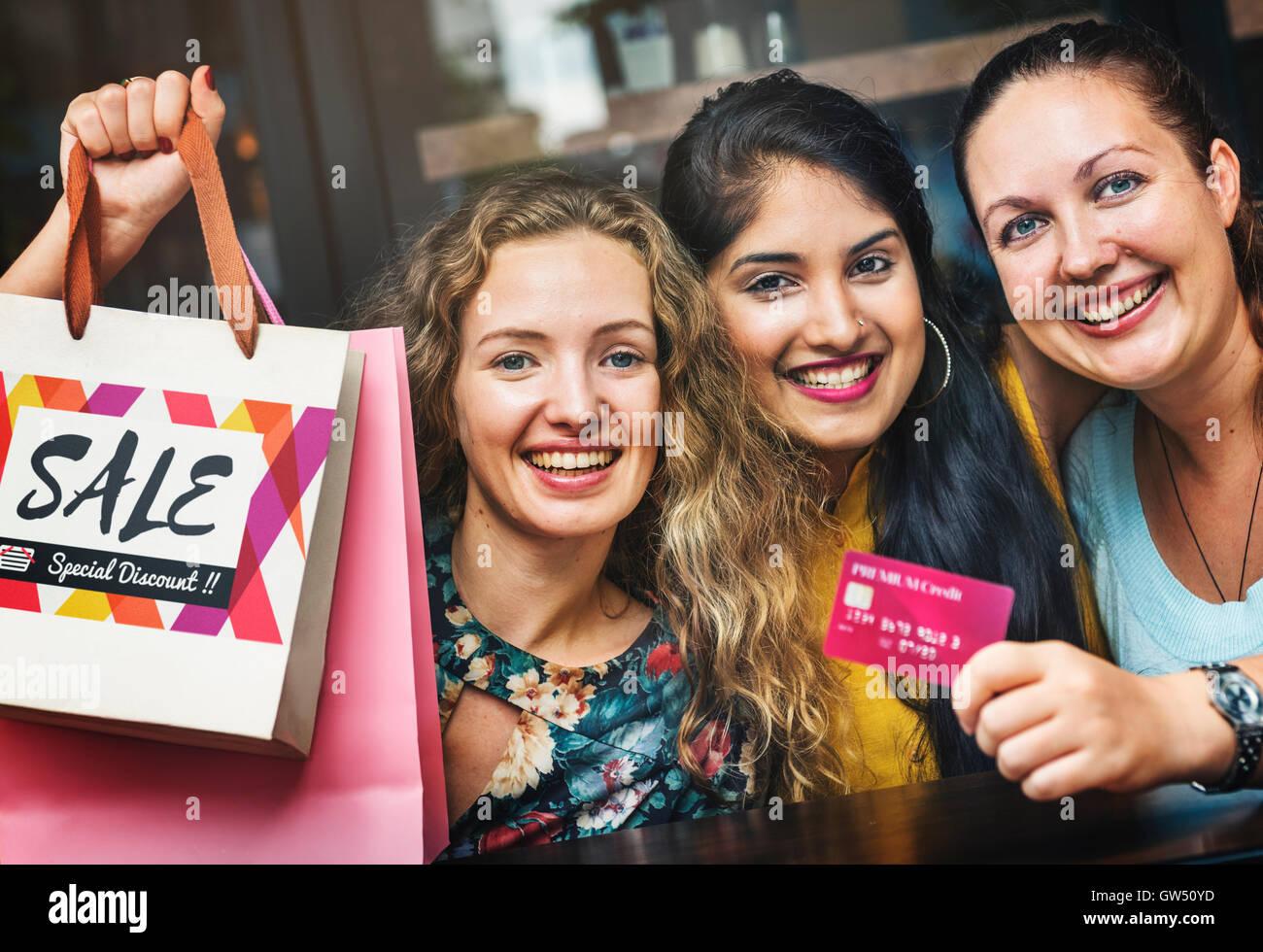 Women Friends Shopaholics Summer Sales Concept - Stock Image