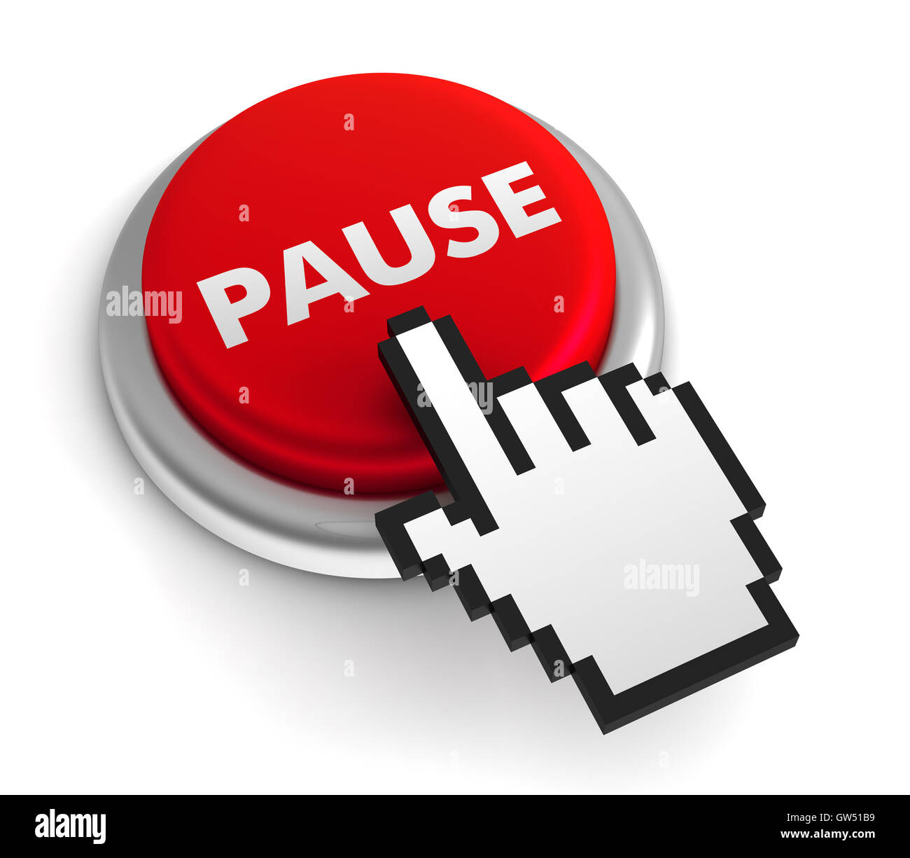 pause keyboard concept  3d illustration - Stock Image
