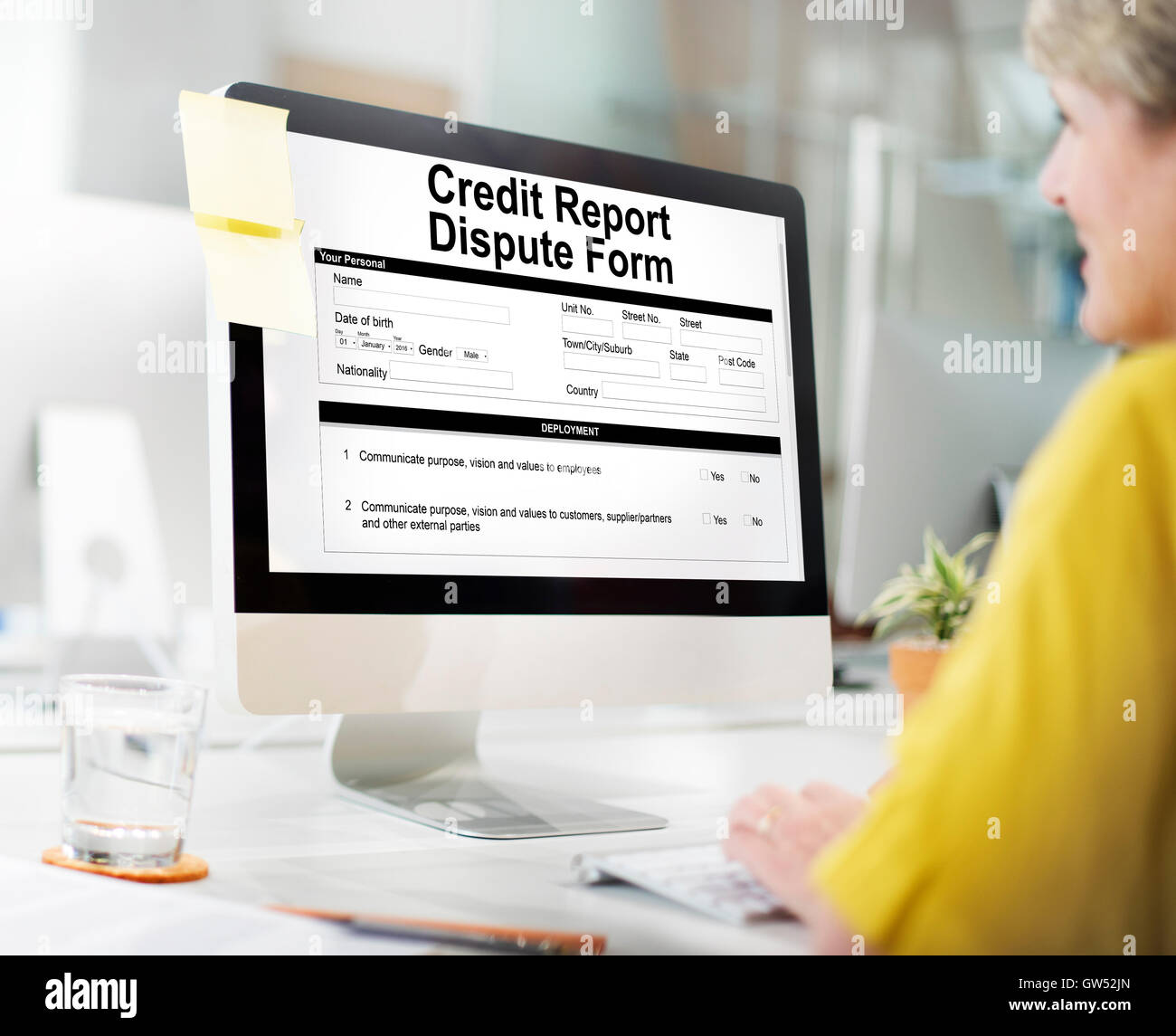 Credit Report Dispute Form Insurance Concept - Stock Image