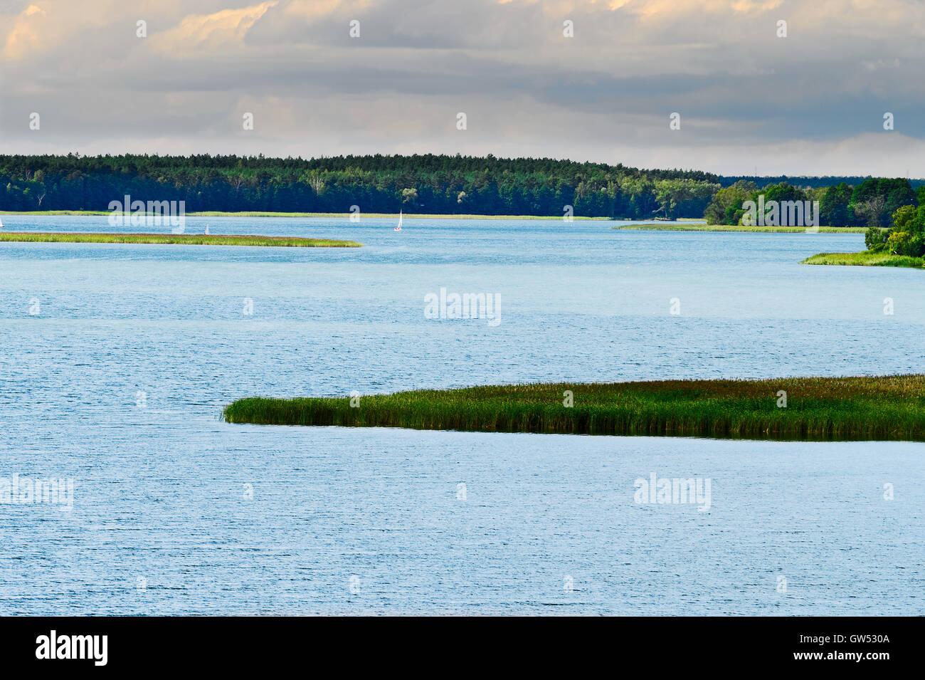Aerial vast landscape with Rajgrodzkie Lake. Rajgrod, Podlaskie region, north-eastern Poland. - Stock Image