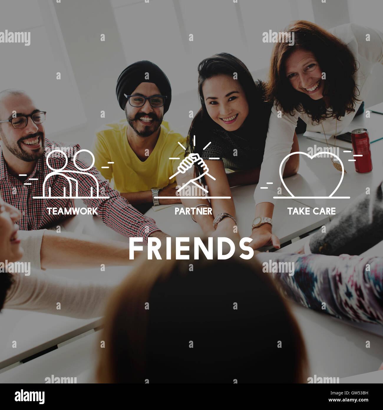 Friends Partner Take Care Teamwork Concept - Stock Image
