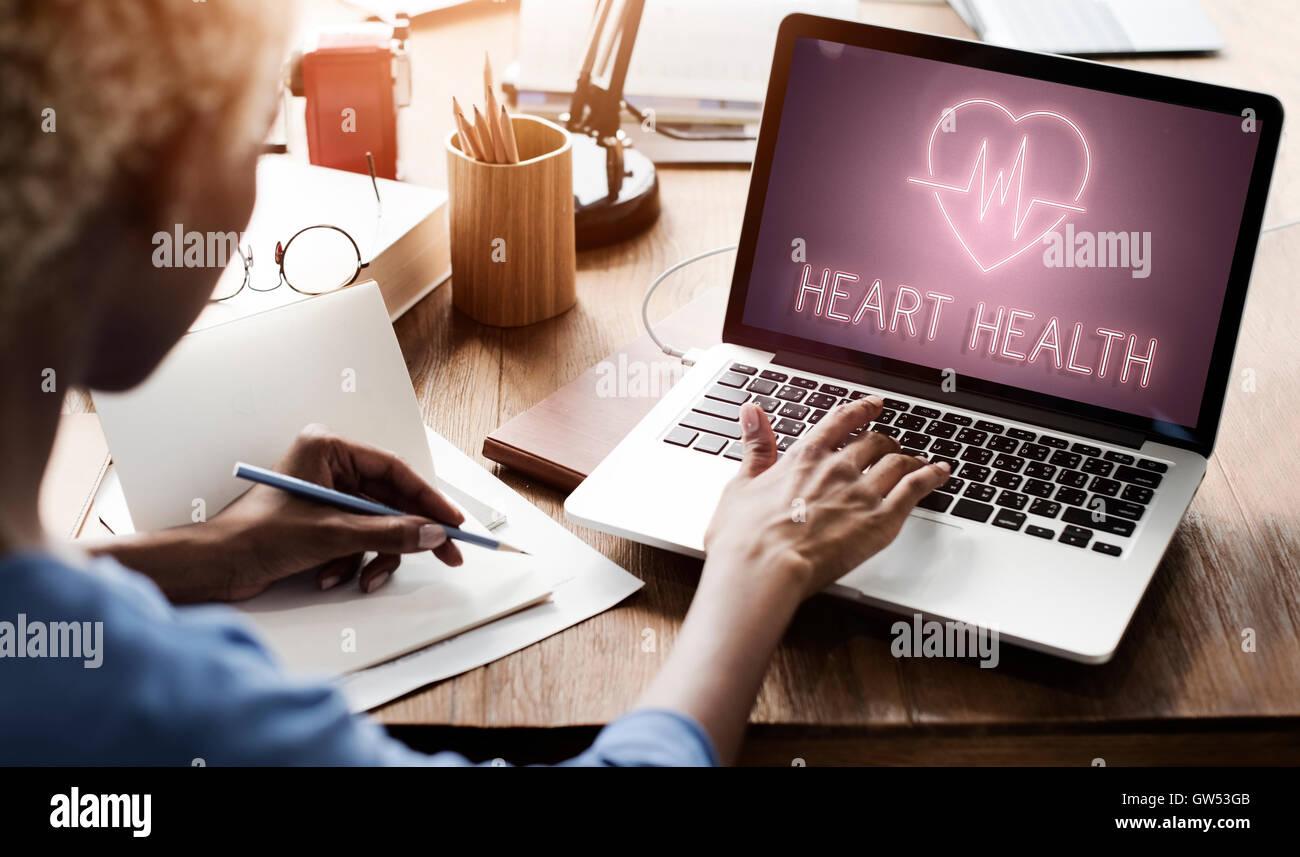 Cardiac Cardiovascular Disease Heart Graphic Concept - Stock Image