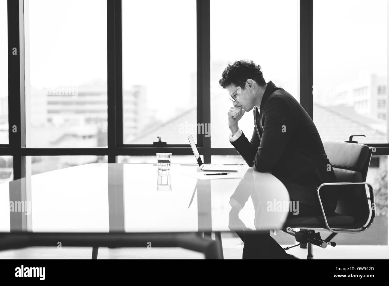 Stressful Stress Serious Working Entrepreneur Concept - Stock Image