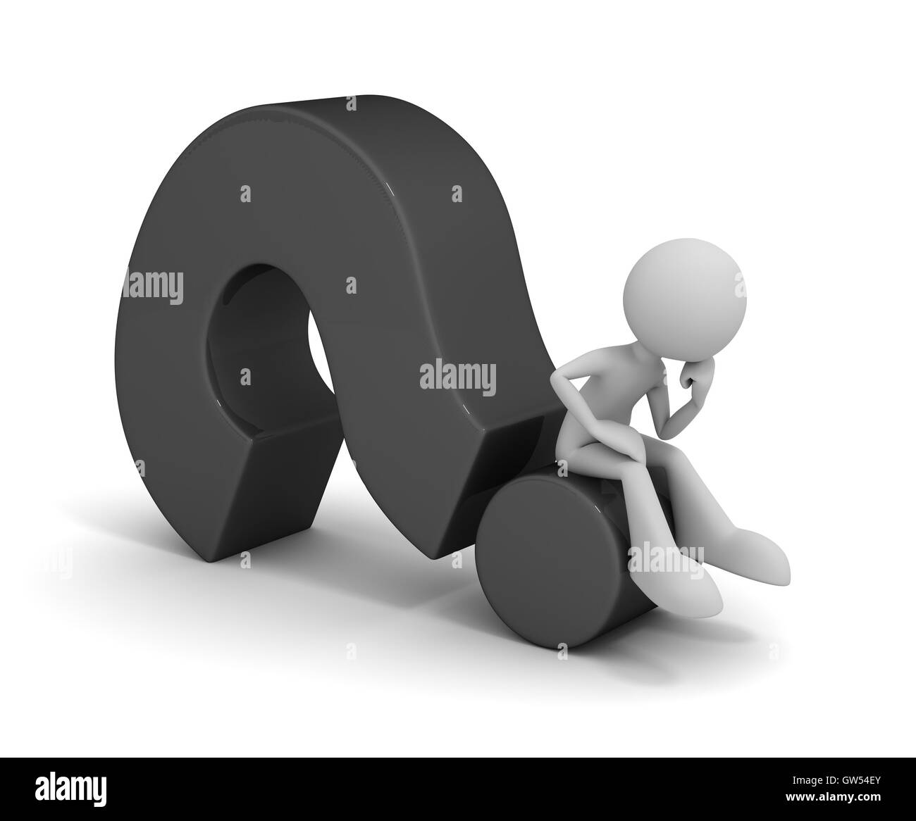 question mark and man concept  3d illustration - Stock Image