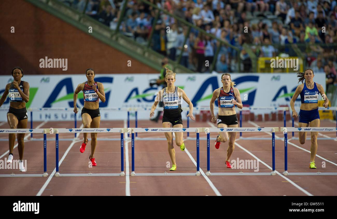 BRUSSELS, BELGIUM - SEPTEMBER 9:  Women's 400m Hurdles at the AG Insurance Memorial Van Damme IAAF Diamond League - Stock Image