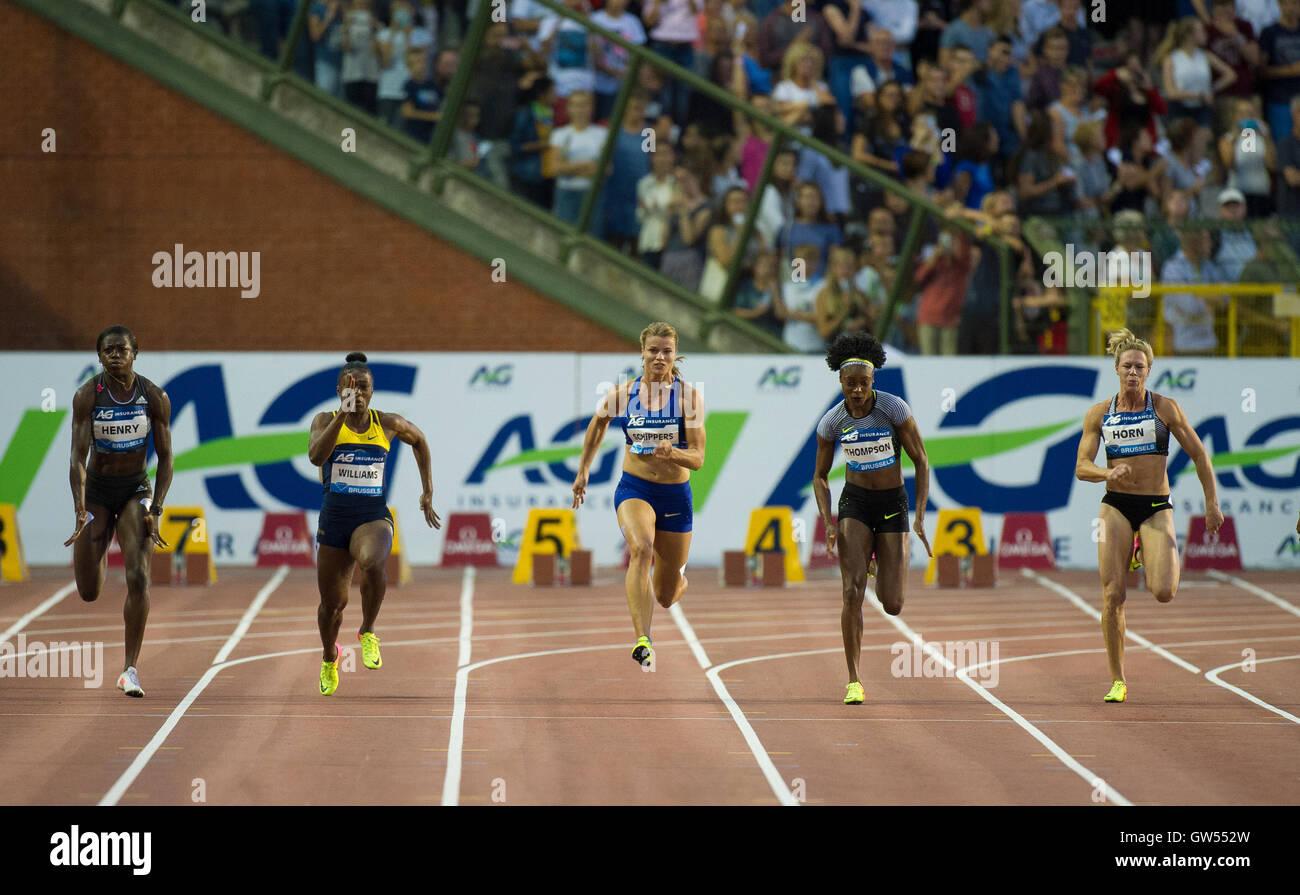 BRUSSELS, BELGIUM - SEPTEMBER 9: Women's 100m at the AG Insurance Memorial Van Damme IAAF Diamond League meeting - Stock Image