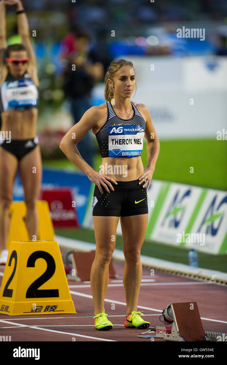 BRUSSELS, BELGIUM - SEPTEMBER 9:  Wenda Theron Nel competing in the Women's 400m Hurdles at the AG Insurance - Stock Image