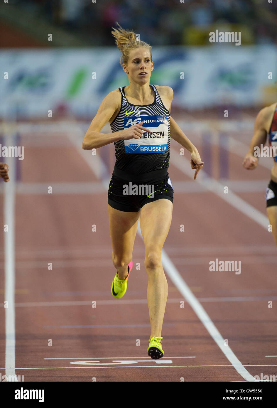BRUSSELS, BELGIUM - SEPTEMBER 9:  Sara Petersen competing in the Women's 400m Hurdles at the AG Insurance Memorial - Stock Image