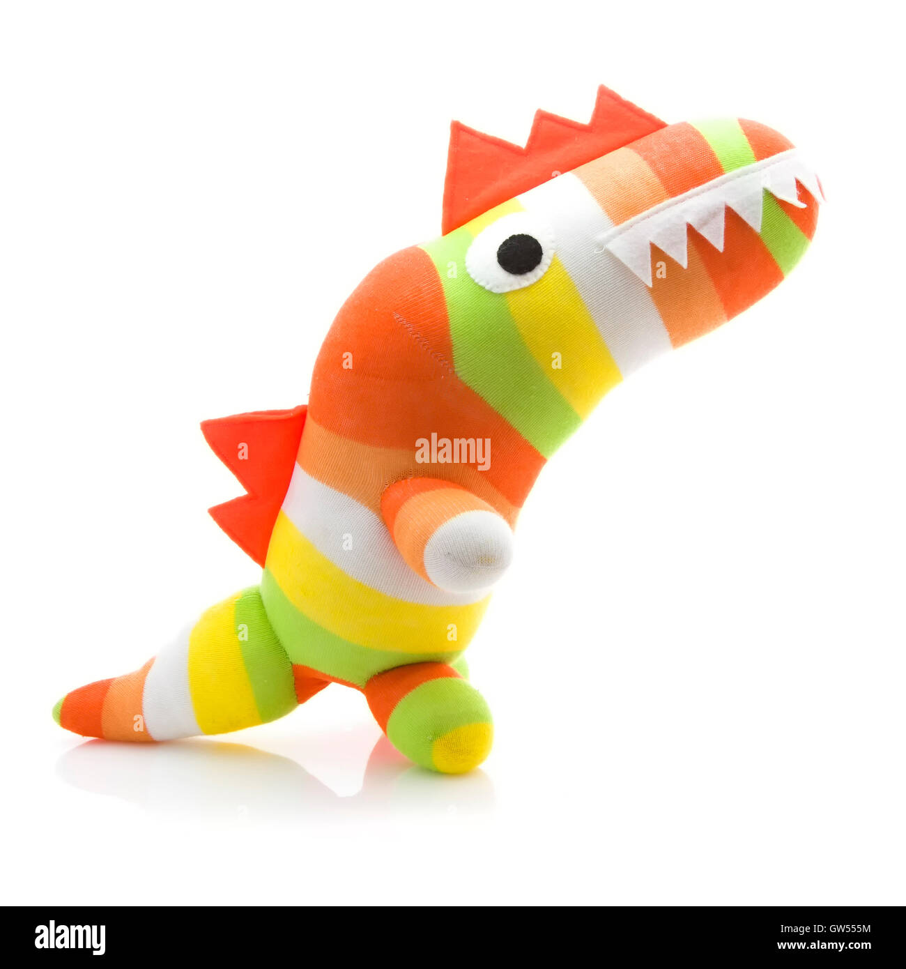 Colourful Hand Made Dinosaur on a White Background - Stock Image
