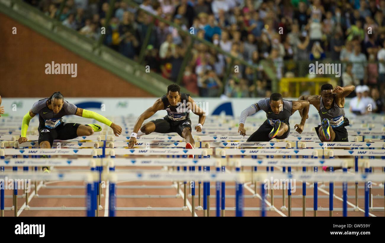 BRUSSELS, BELGIUM - SEPTEMBER 9: Orlando Ortega competing in the Men's 110m Hurdles at the AG Insurance Memorial - Stock Image