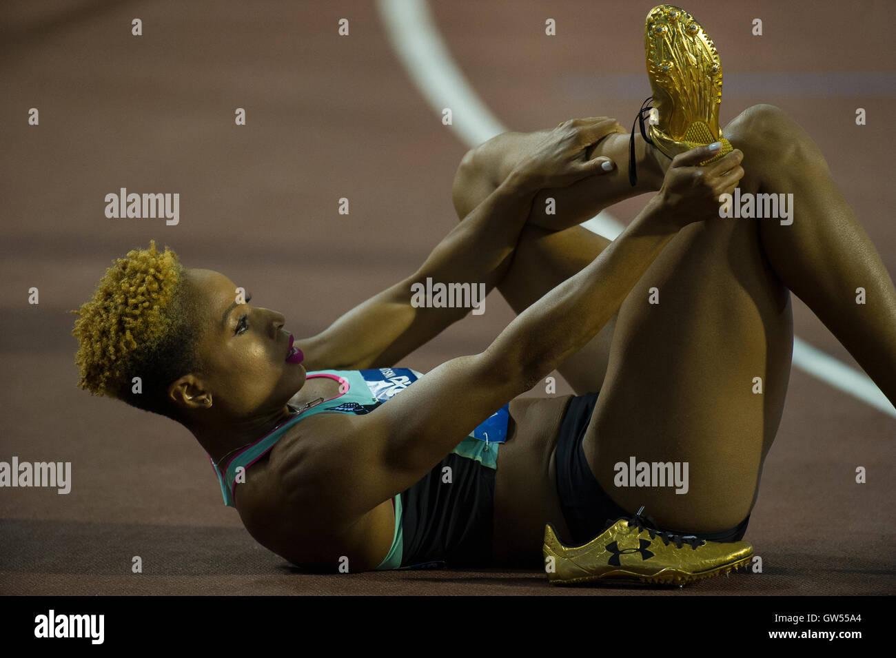 BRUSSELS, BELGIUM - SEPTEMBER 9: Natasha Hastings competing in the Women's 400m at the AG Insurance Memorial - Stock Image