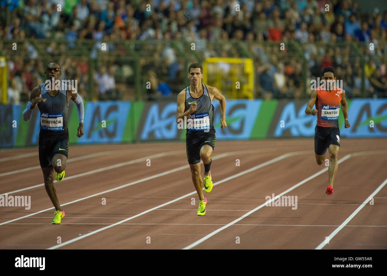 BRUSSELS, BELGIUM - SEPTEMBER 9: Liemarvin Bonevacia _ Jonathan Borlee _ Luguelin Santos competing in the Men's - Stock Image
