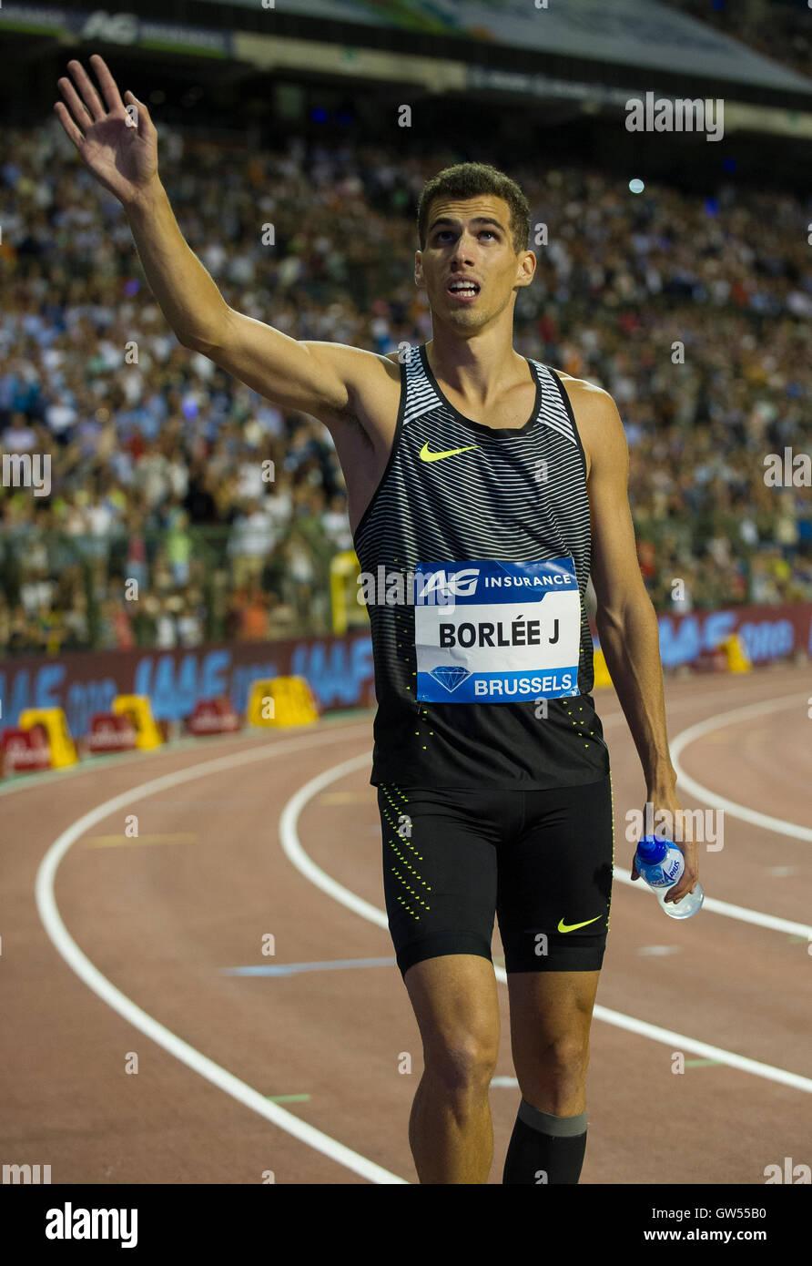 BRUSSELS, BELGIUM - SEPTEMBER 9: Jonathan Borlee scompeting in the Men's 400m at the AG Insurance Memorial Van - Stock Image