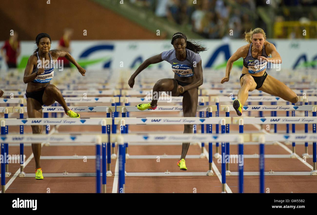 BRUSSELS, BELGIUM - SEPTEMBER 9: (L-R) Jasmin Stowers _ Anne Zagre _ Cindy Roleder competing in the Women's - Stock Image