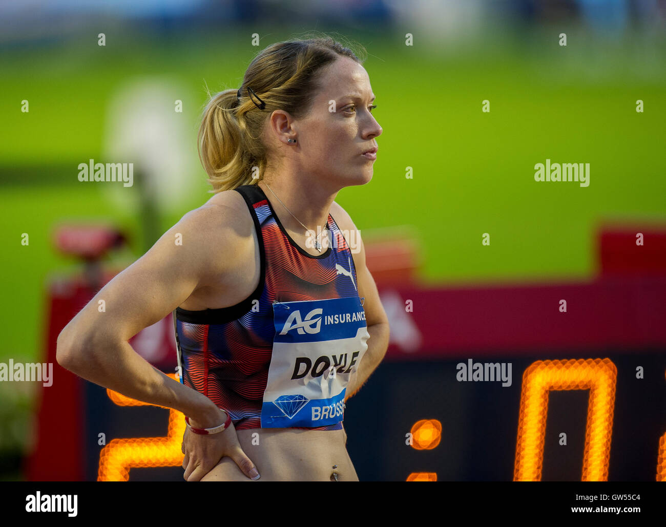 BRUSSELS, BELGIUM - SEPTEMBER 9:  Eilidh Doyle competing in the Women's 400m Hurdles at the AG Insurance Memorial - Stock Image