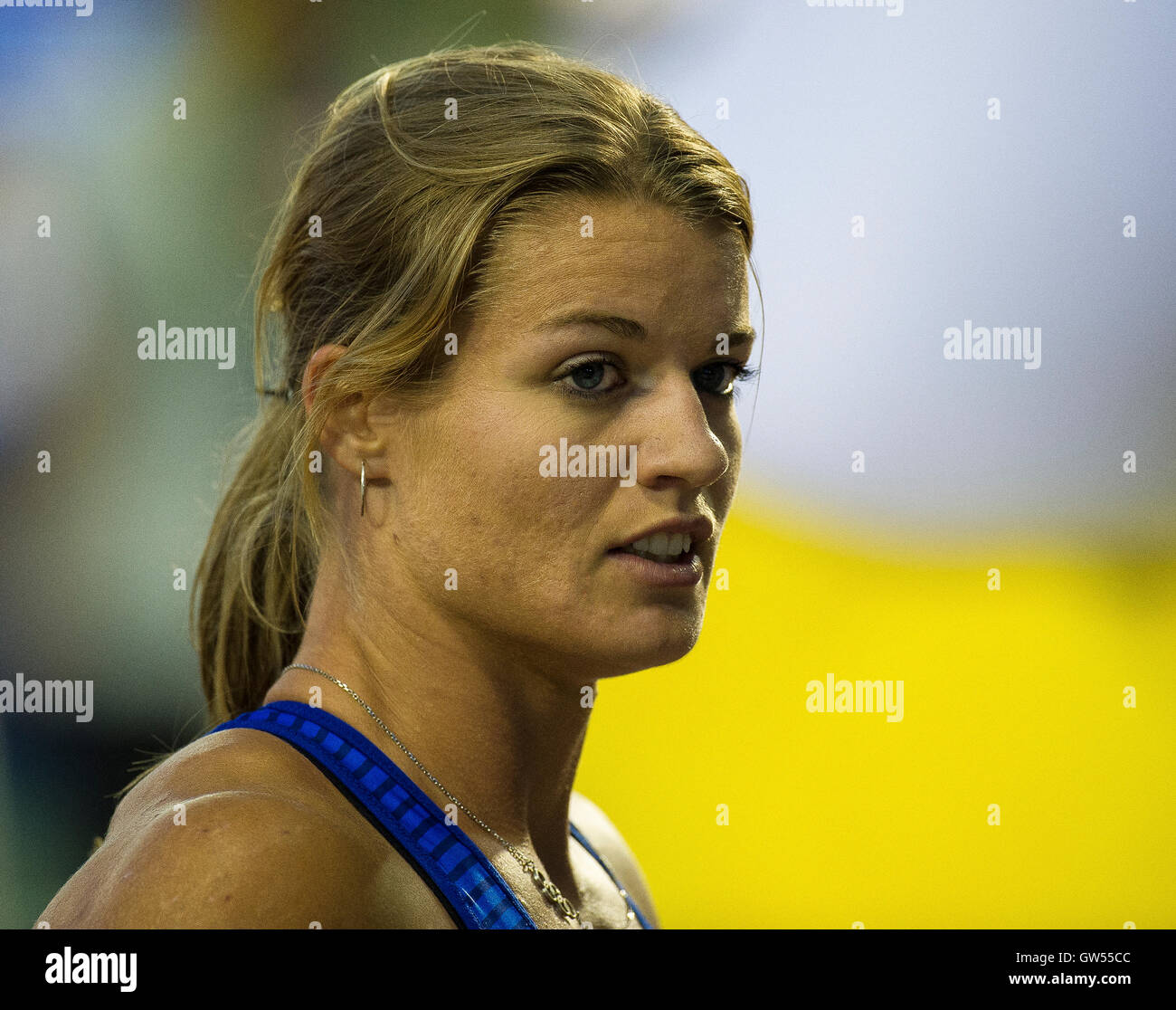 BRUSSELS, BELGIUM - SEPTEMBER 9: Dafne Schippers competing in the women's 100m at the AG Insurance Memorial - Stock Image