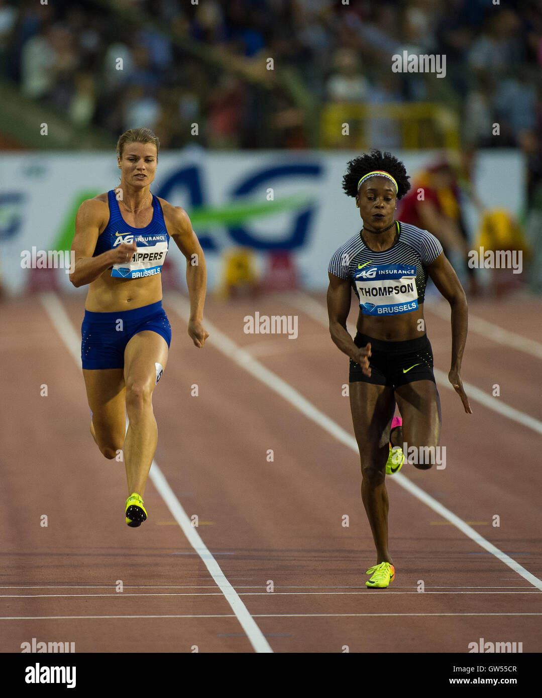 BRUSSELS, BELGIUM - SEPTEMBER 9: Dafne Schippers and  Elaine Thompson competing in the women's 100m at the AG Insurance Stock Photo