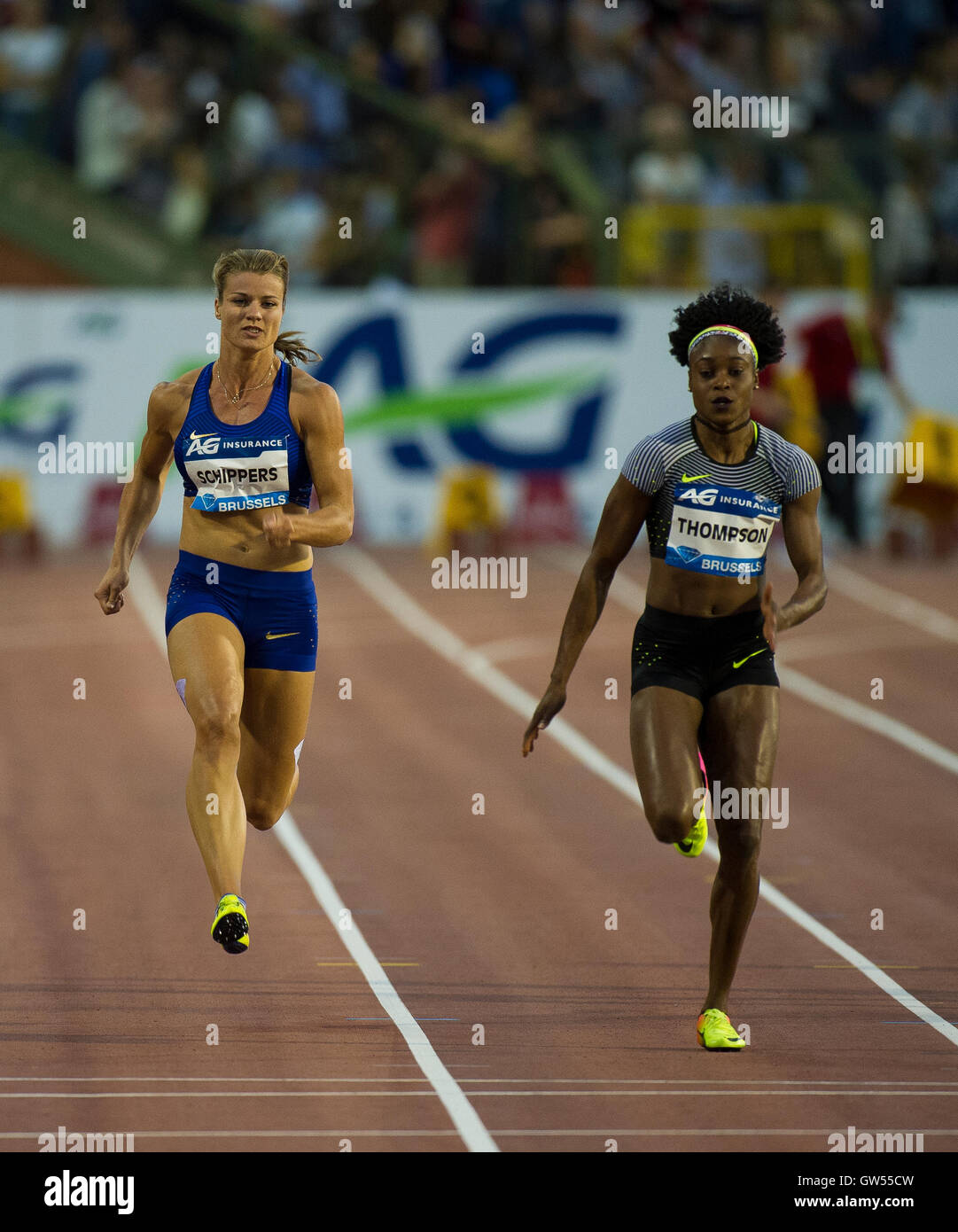BRUSSELS, BELGIUM - SEPTEMBER 9: Dafne Schippers and  Elaine Thompson competing in the women's 100m at the AG - Stock Image
