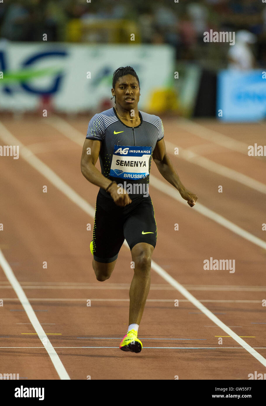 BRUSSELS, BELGIUM - SEPTEMBER 9: Caster Semenya competing in the Women's 400m at the AG Insurance Memorial Van - Stock Image