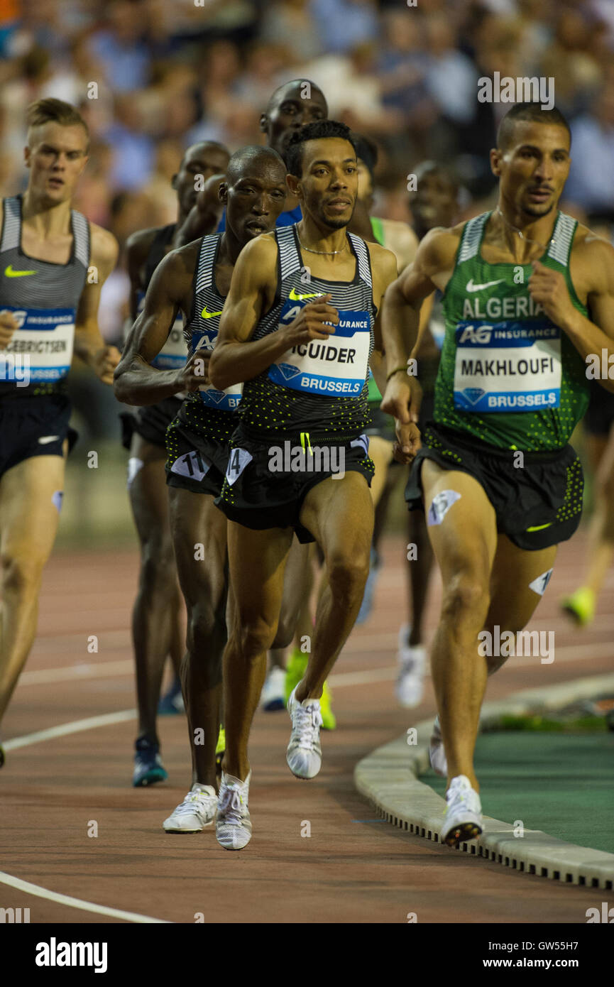BRUSSELS, BELGIUM - SEPTEMBER 9: Abdelaati Iguider competing in the Men's 1500m at the AG Insurance Memorial - Stock Image