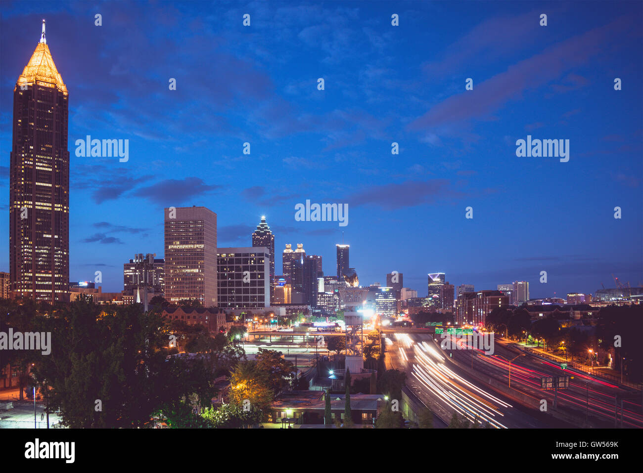 Atlanta skyline at blue hour in the morning. - Stock Image