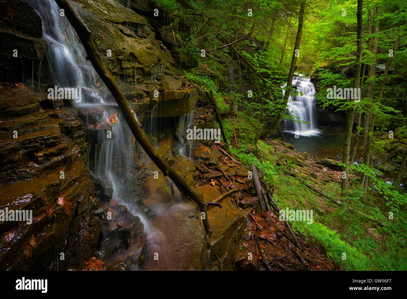 Spring runoff at Big Falls along Heberly Run near Jamison City in Luzerne County, Pennsylvania - Stock Image