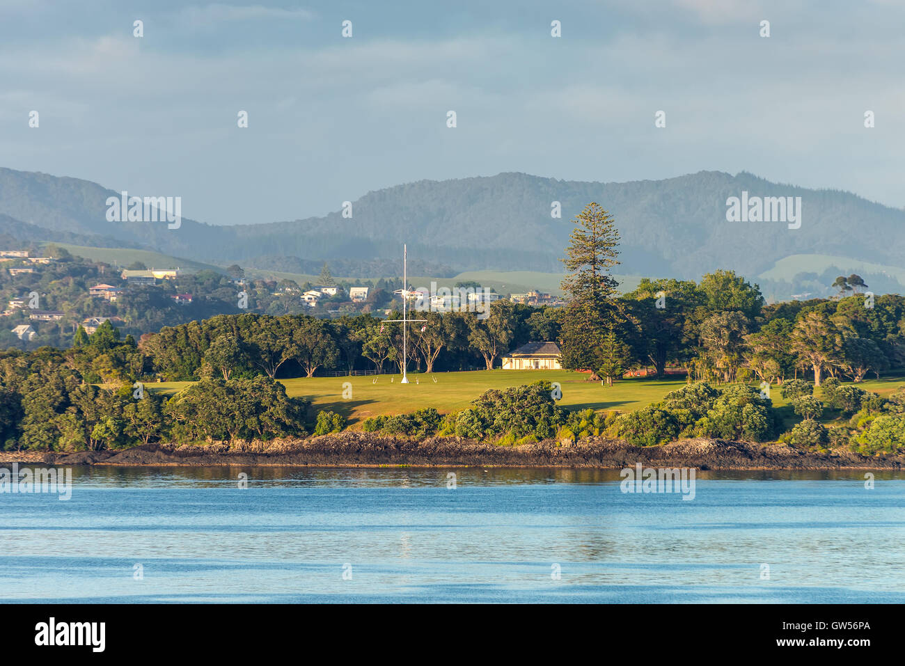 The Waitangi Treaty Grounds is the place where Maori chiefs first signed their accord with the British Crown in Stock Photo
