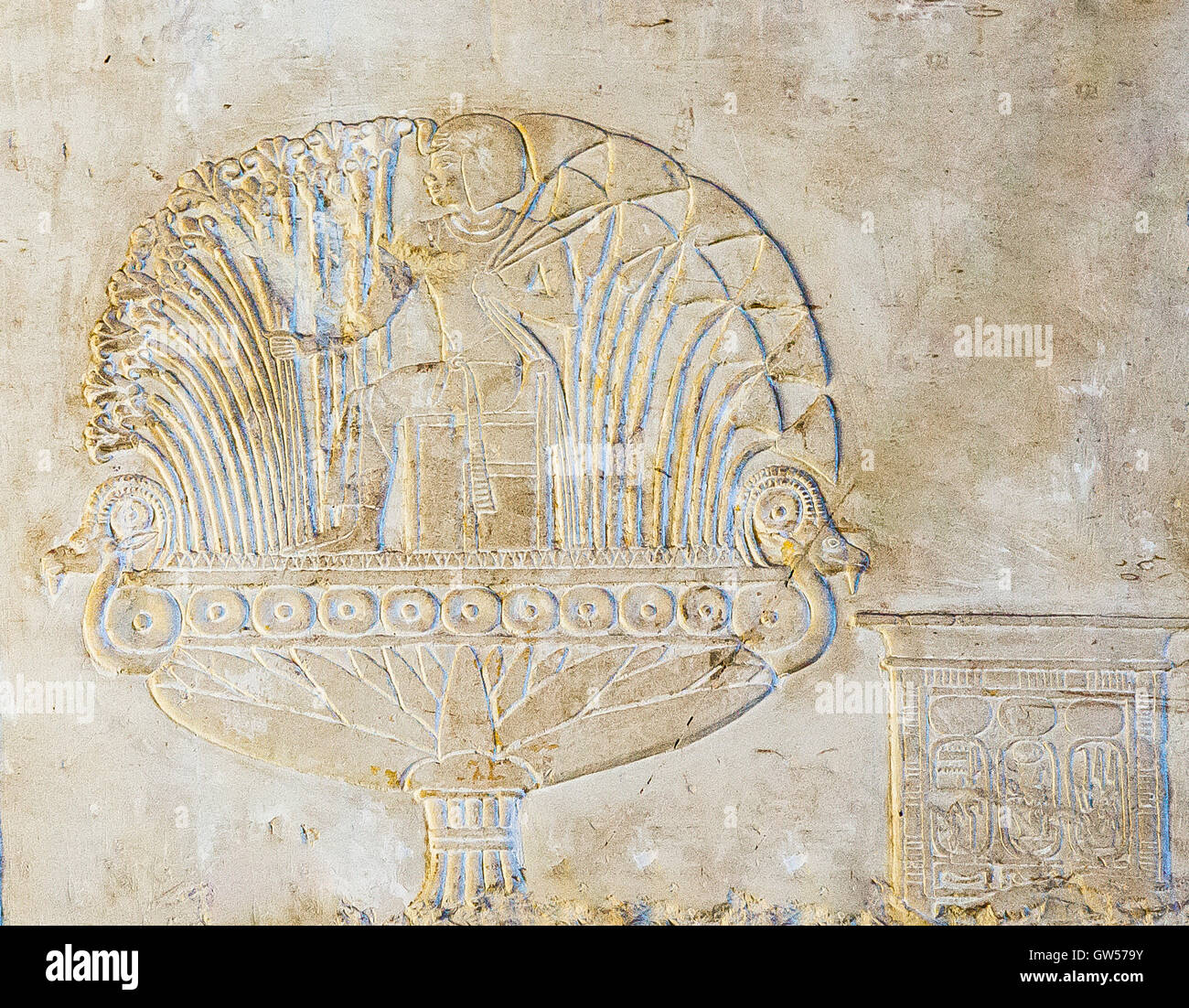 Ancient egypt relief lotus flower stock photos ancient egypt luxor in egypt assassif part of the valley of the nobles tomb izmirmasajfo