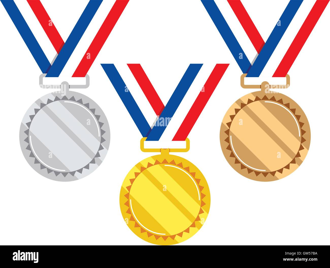 vector set of gold, silver and bronze medals - Stock Vector