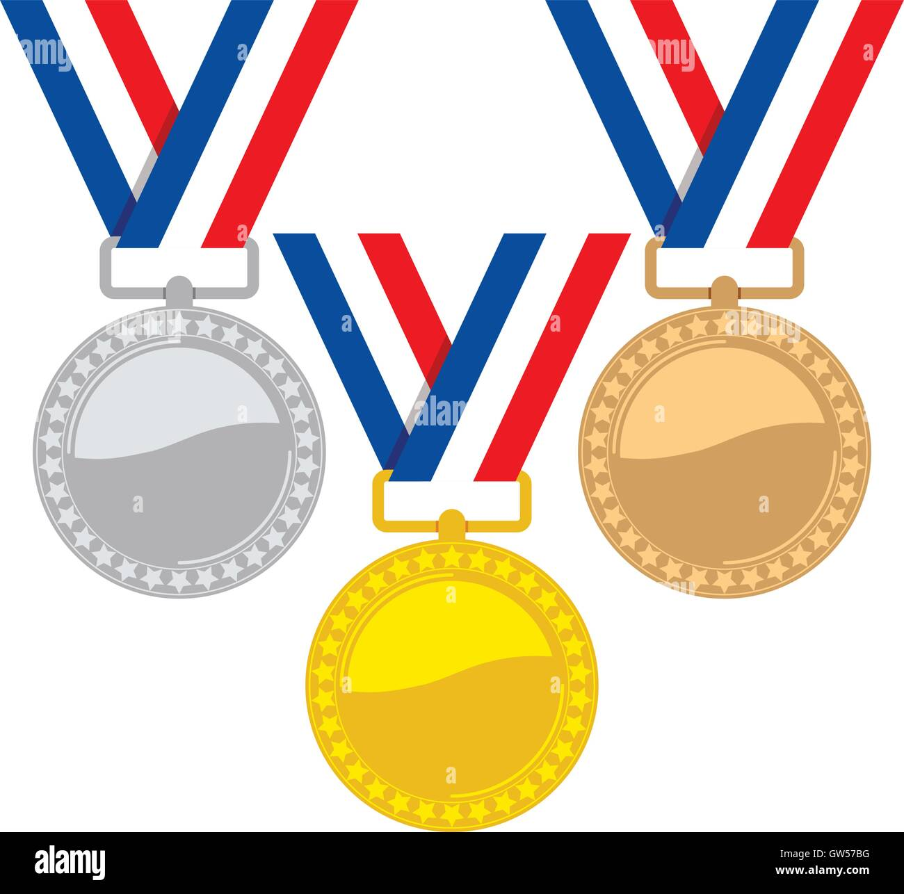 vector set of gold, silver and bronze medals Stock Vector