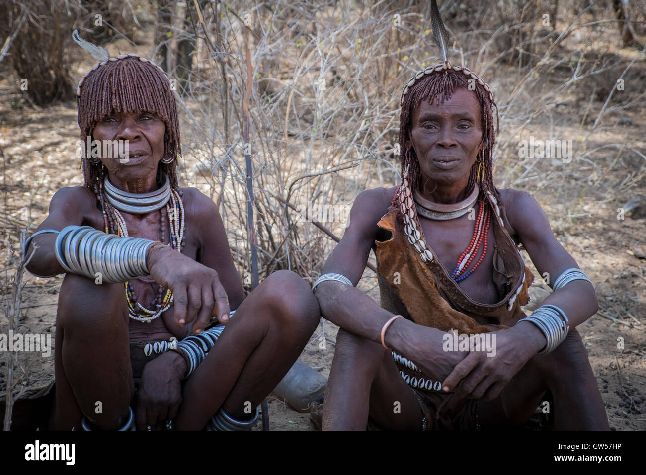 Two women of the Hamer tribe of the Omo Valley in Ethiopia adorned with braided hair and extensive adornments - Stock Image