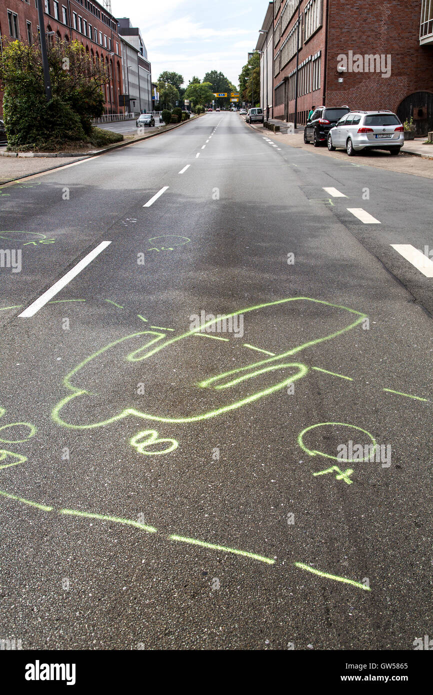 Marks of the police at a traffic accident site, a woman with a bicycle, was hit by a car on a crosswalk and died, Stock Photo