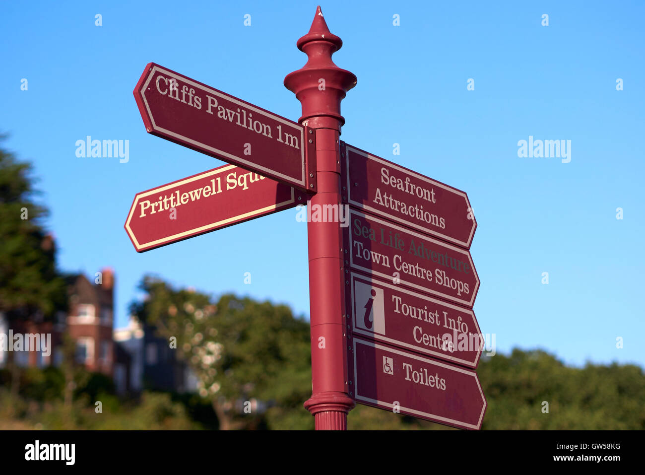 Road sign, Southend On Sea, Essex, UK. End of 2016 Summer - Stock Image
