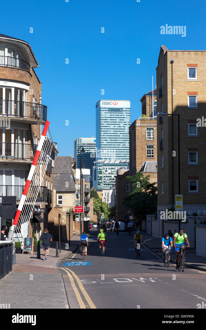 View of Canary Wharf skyscrapers from Narrow Street in Limehouse, London, UK - Stock Image