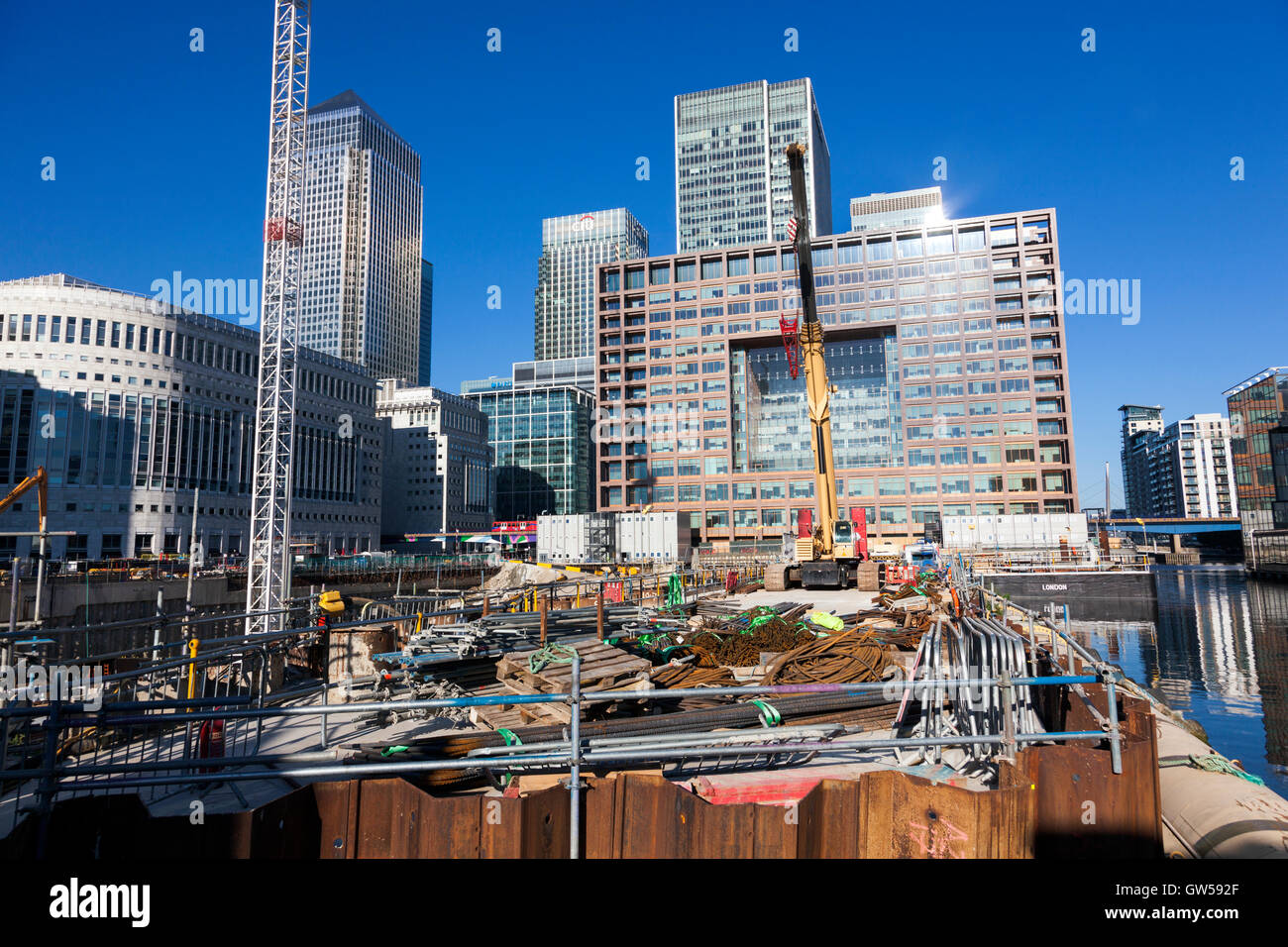 18th July 2016 - One Bank Street Project construction site, Canary Wharf, London - Stock Image
