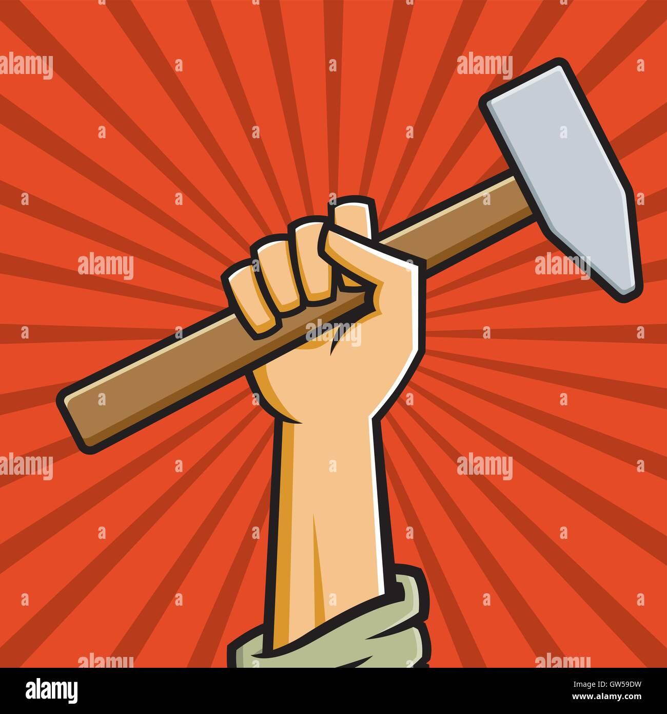 Raised Soviet fist holding a hammer. Vector illustration in the style of Russian Constructivist propaganda posters. - Stock Vector