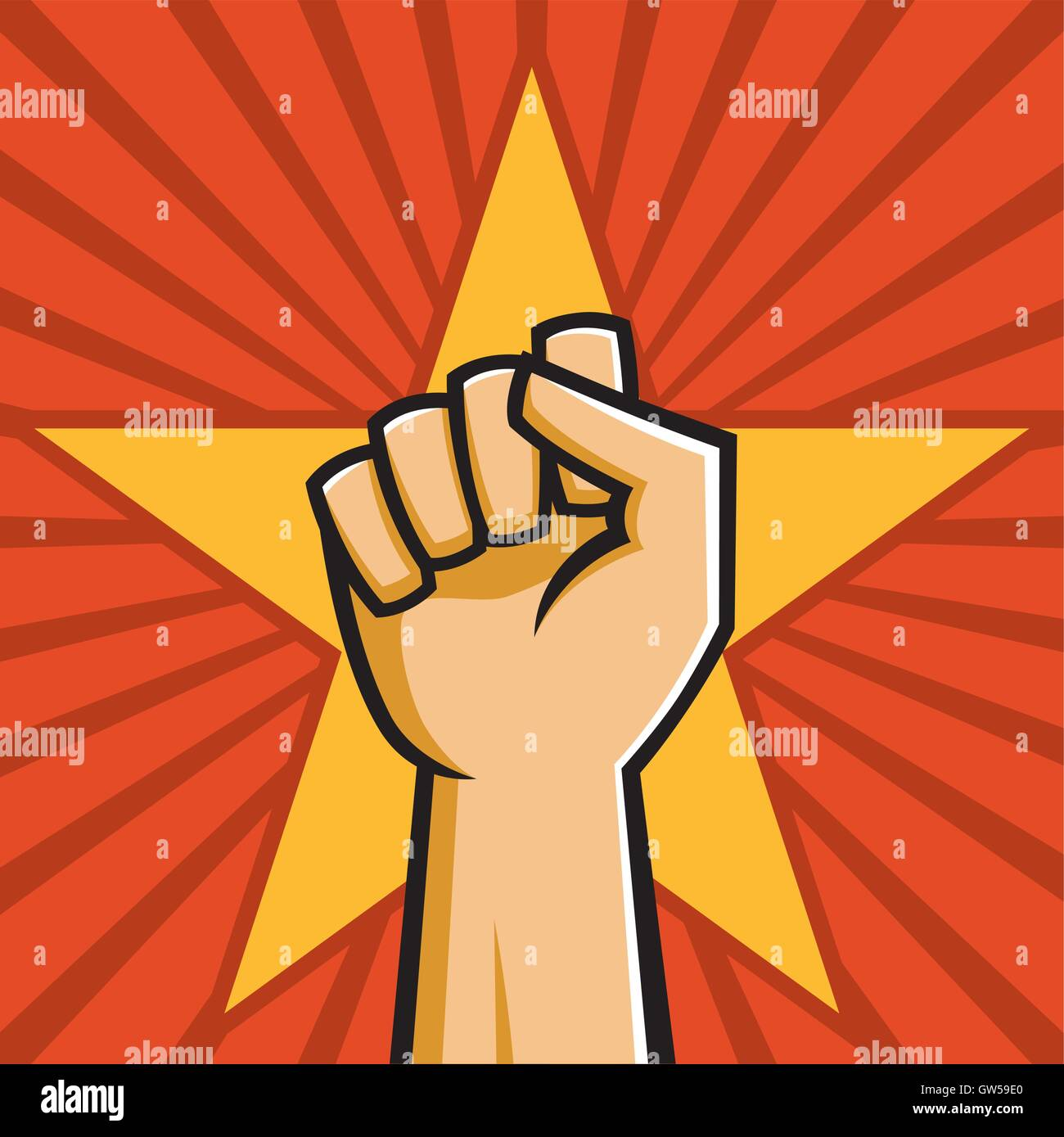 Raised fist in front of star and radial background. Vector illustration in style of Russian Constructivist propaganda - Stock Vector