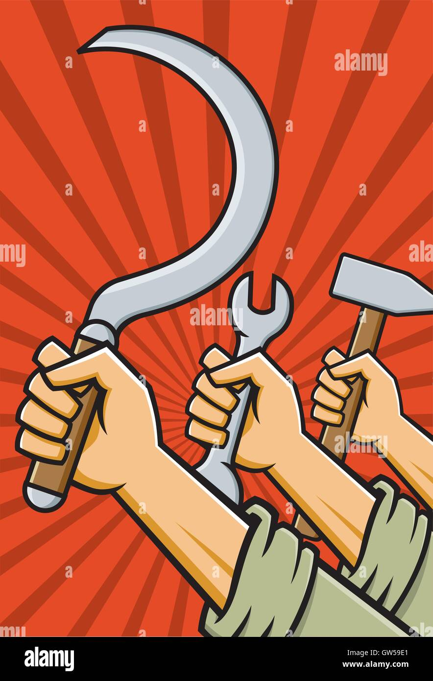 Raised Soviet fists holding tools Hammer sickle and wrench in style of Russian Constructivist Propaganda posters. - Stock Vector