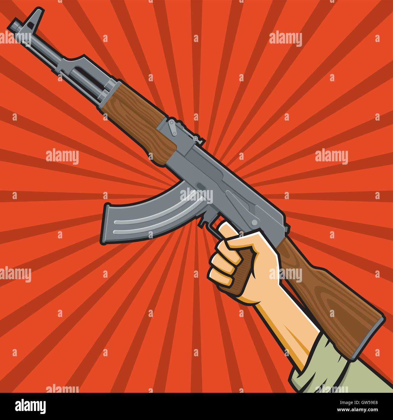 Raised fist holding AK47 sub-machine gun. Hand holds assault rifle over red radial background. In the style of Russian - Stock Vector