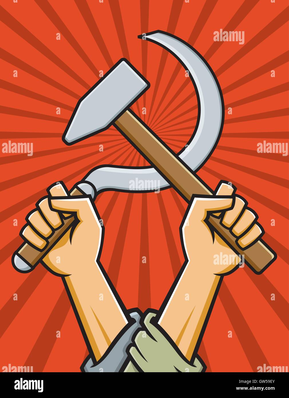 Hammer and Sickle Vector Illustration. Two arms hold a hammer and sickle aloft. Features red radial background. - Stock Vector