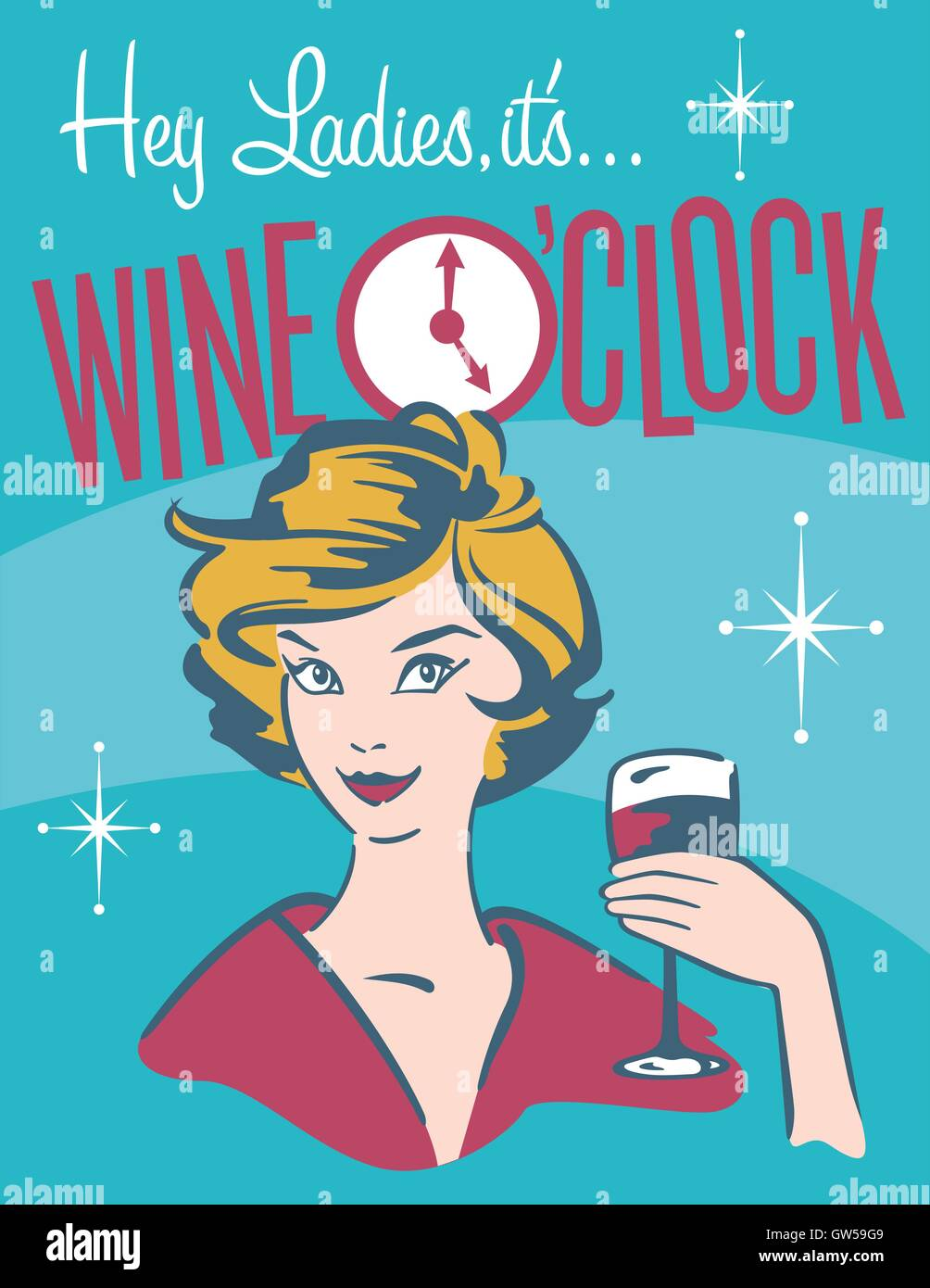 wine o u2019clock retro wine design  cool wine graphic for