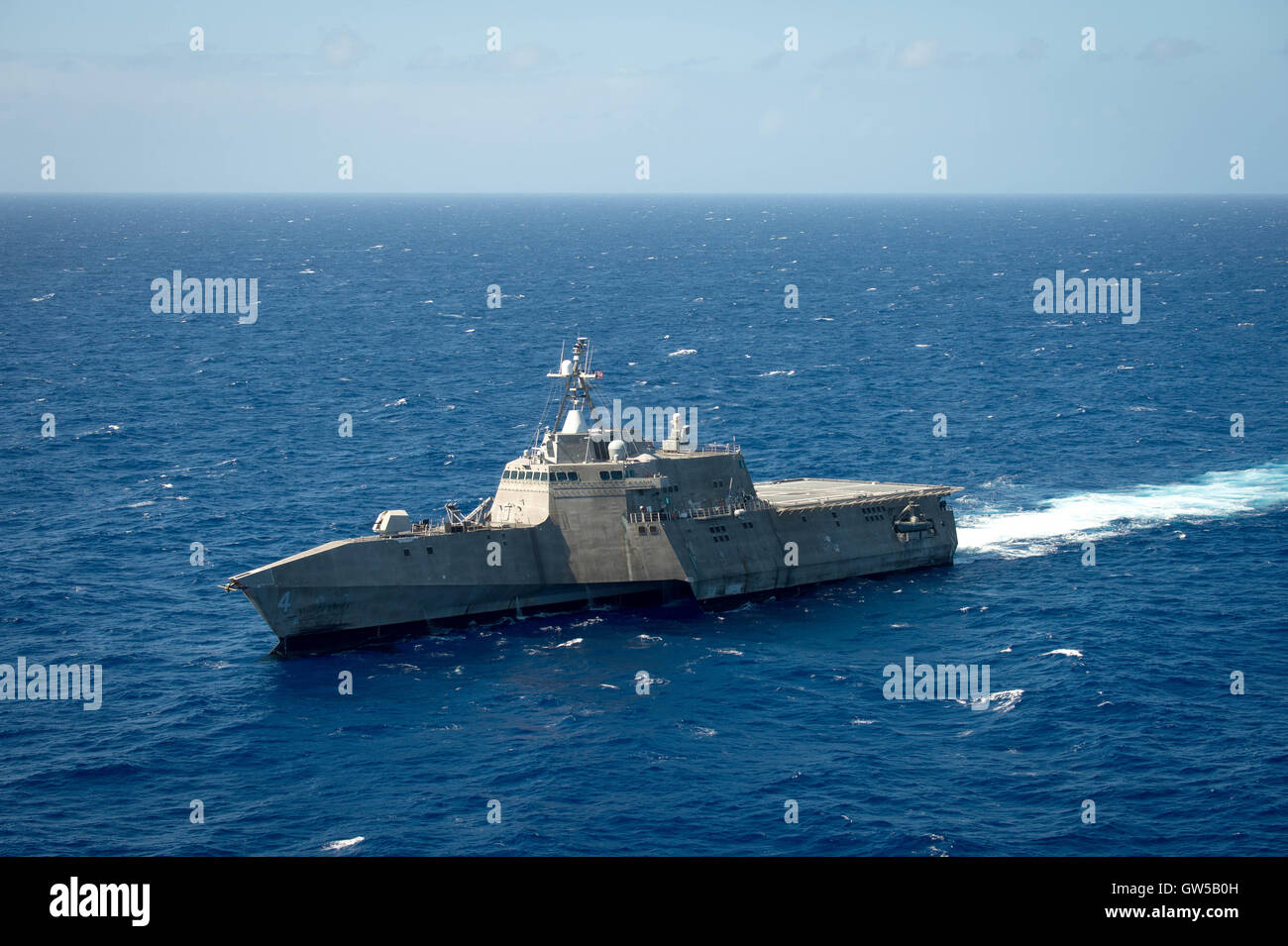US Navy Littoral combat ship USS Coronado steams in close formation during the Rim of the Pacific exercise June - Stock Image
