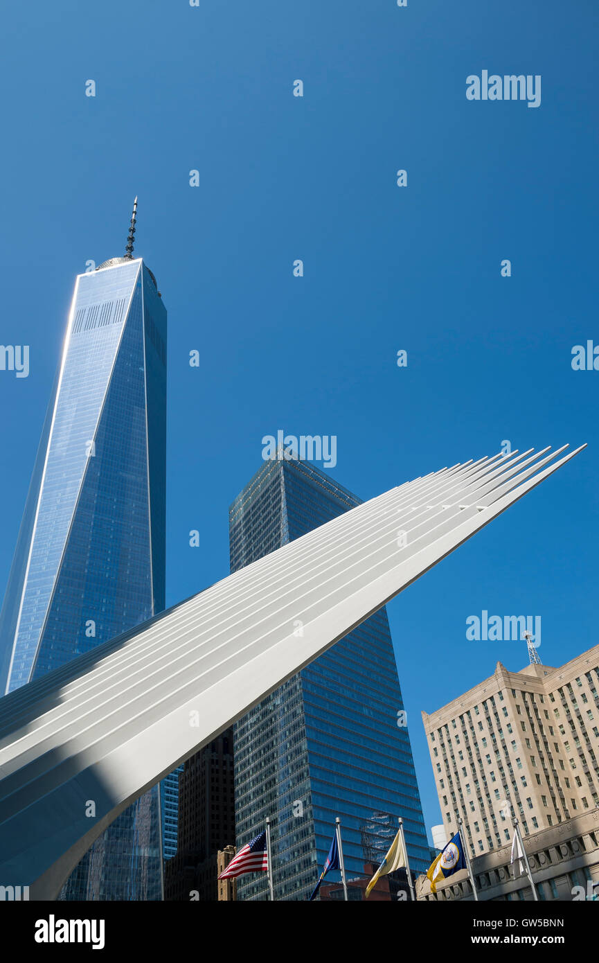 NEW YORK CITY - SEPTEMBER 4, 2016: Distinctive architectural form of the Oculus transportation hub at the World - Stock Image