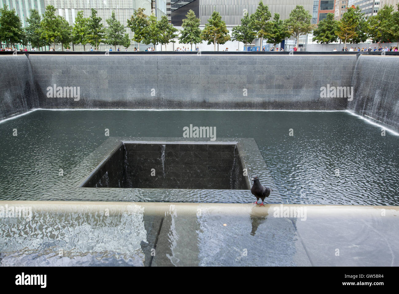 North reflecting pool at the 9/11 Memorial site in Manhattan. Stock Photo