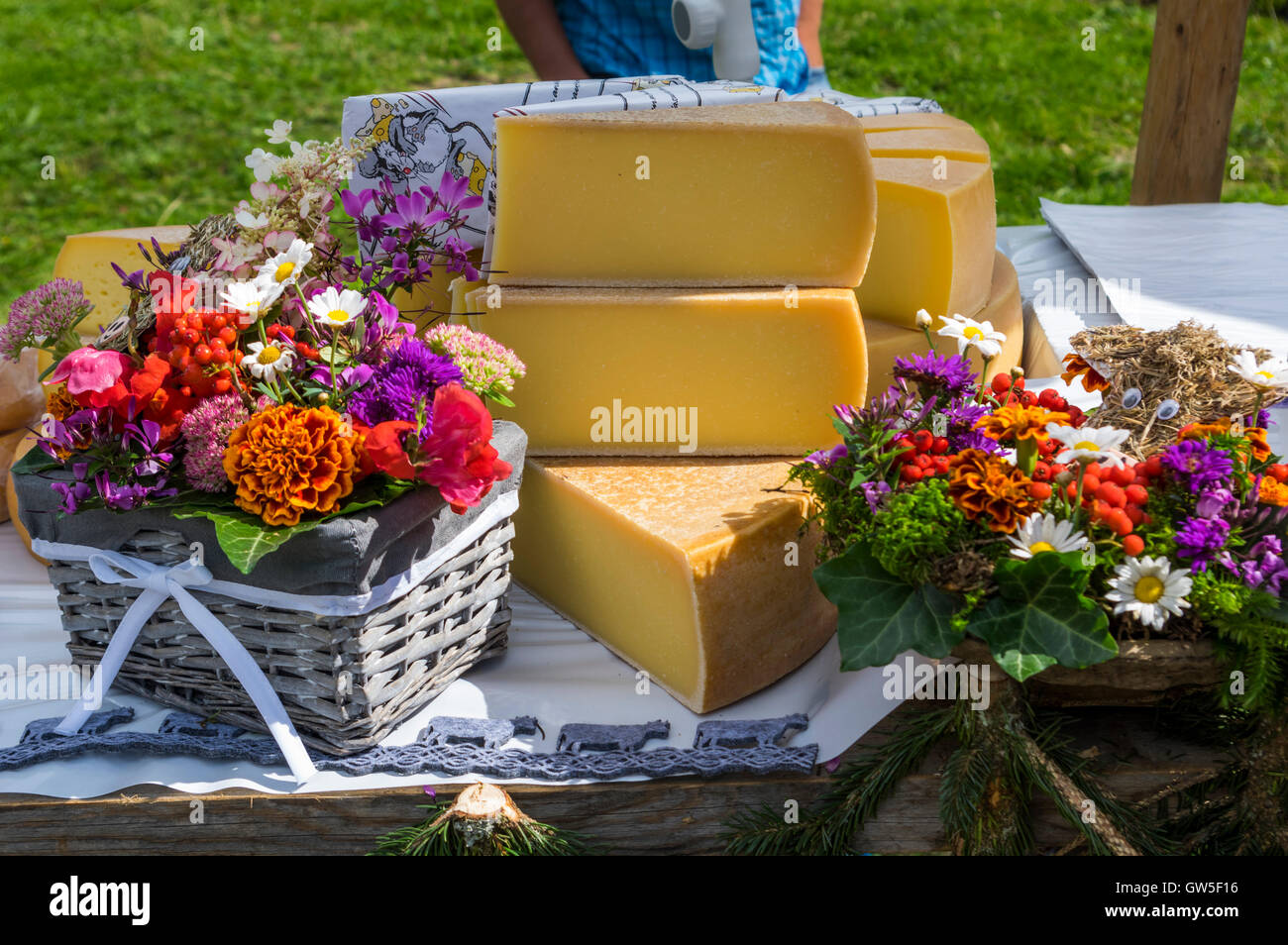 Berner Alpkäse AOC cheese for sale on a market stall in Switzerland. - Stock Image