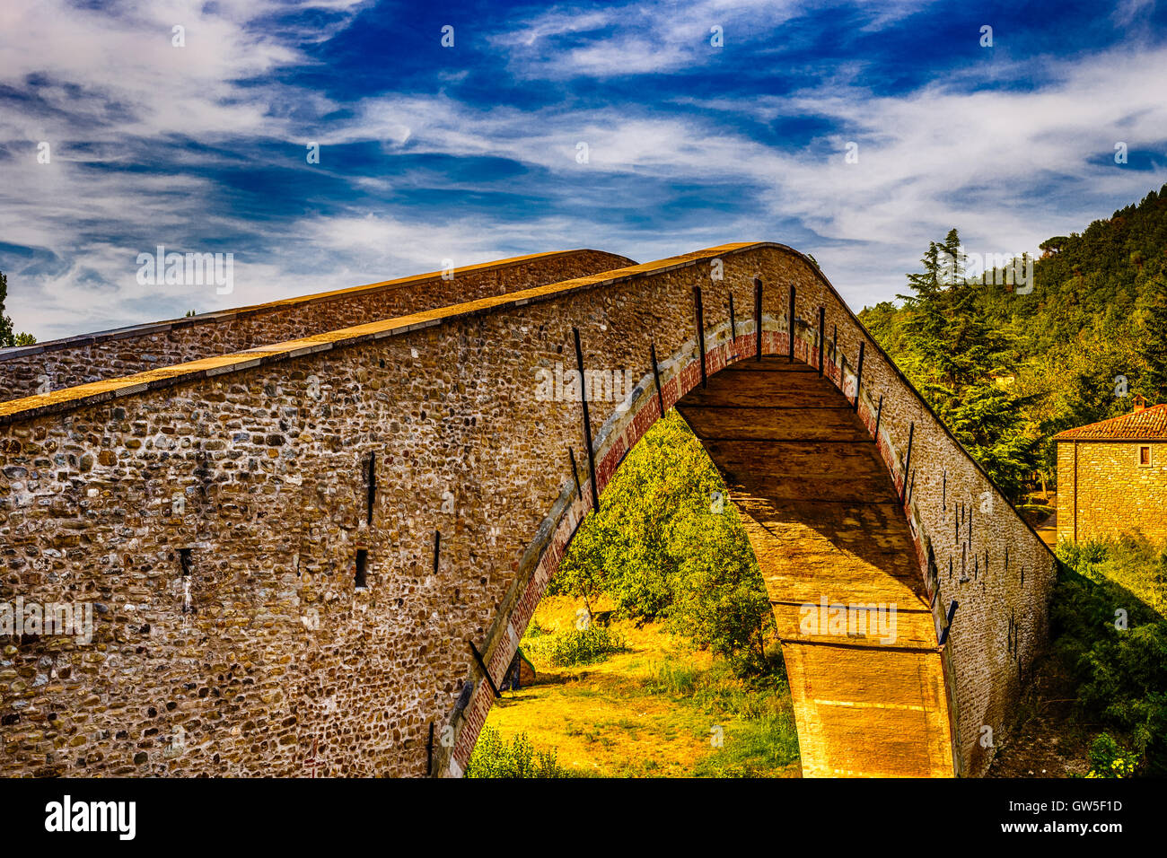 Ancient hunchback bridge in Emilia Romagna - Stock Image