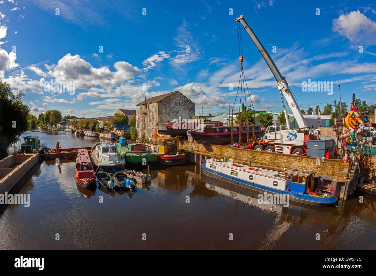 Boatyard, Calder & Hebble Navigation, Wakefield - Stock Image