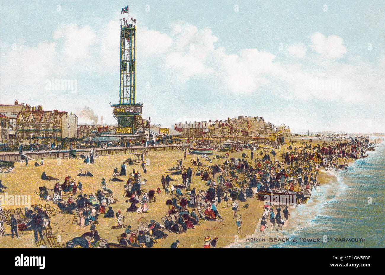 Edwardian postcard of the seaside town of Great Yarmouth, showing the North Beach and Tower. Stock Photo