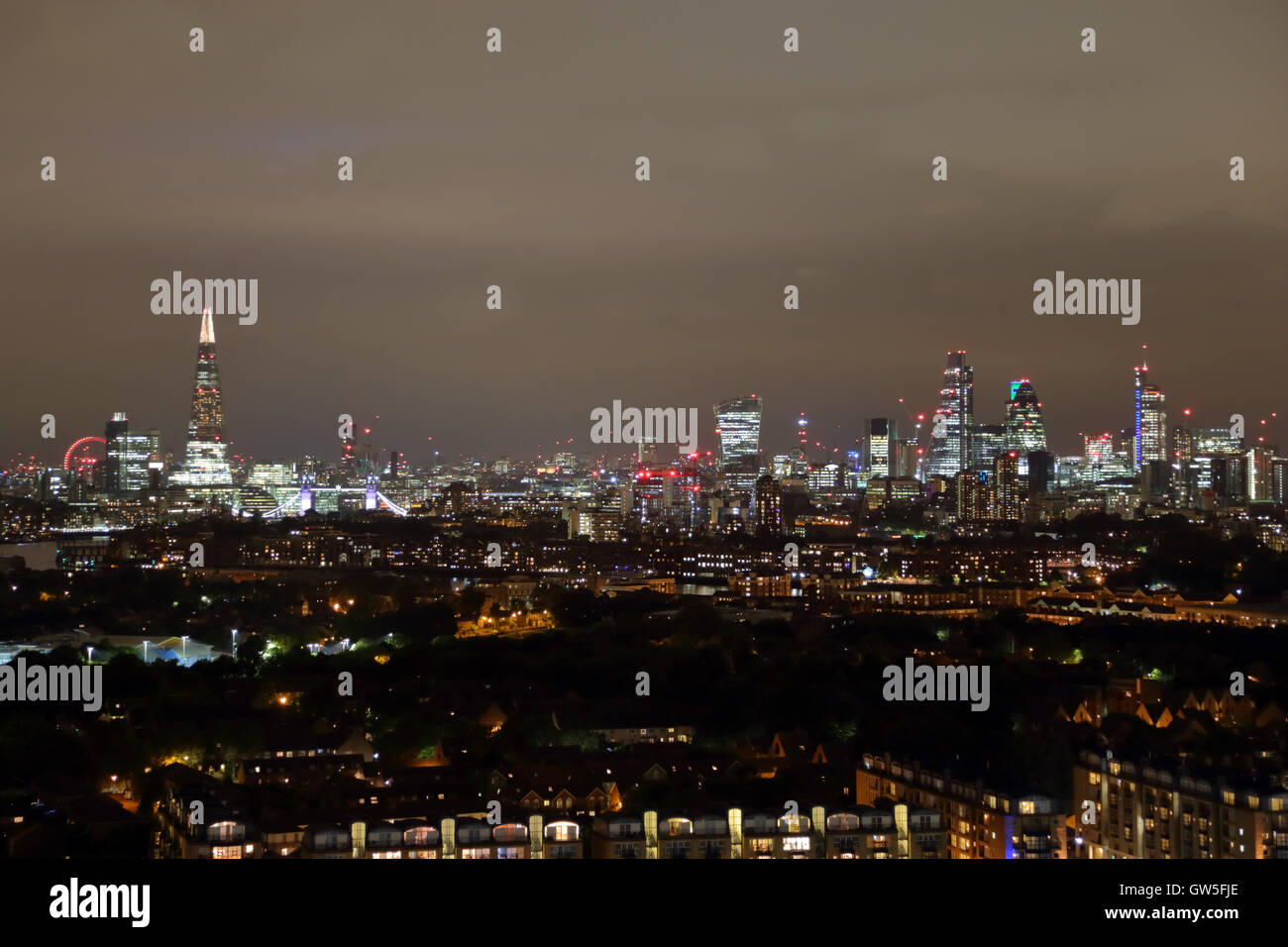 Night View Of The The City Of London Skyline From Marsh Wall